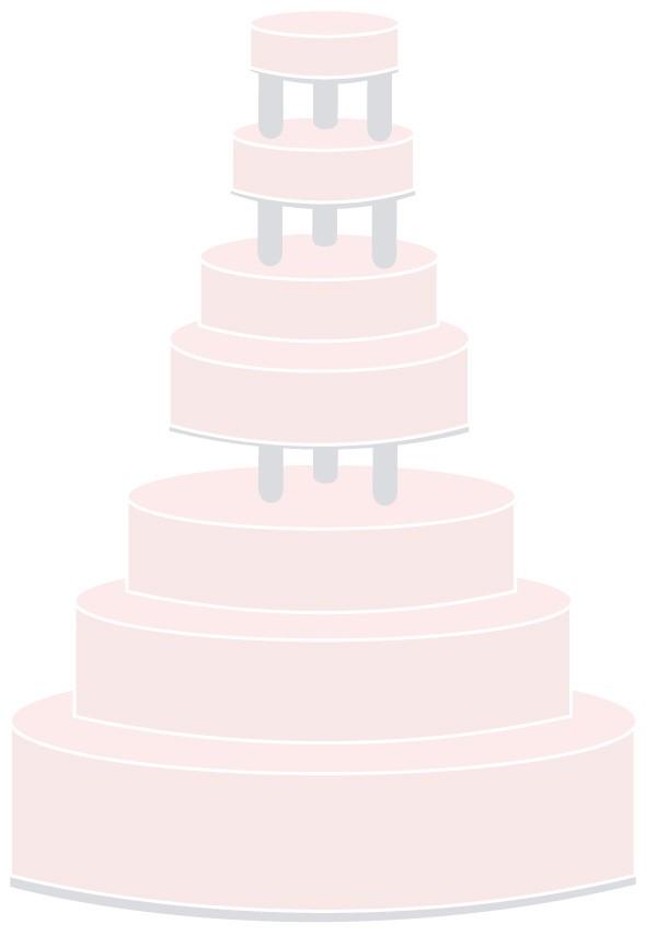 Hochzeitstorte auf Säulen - siebenstöckig